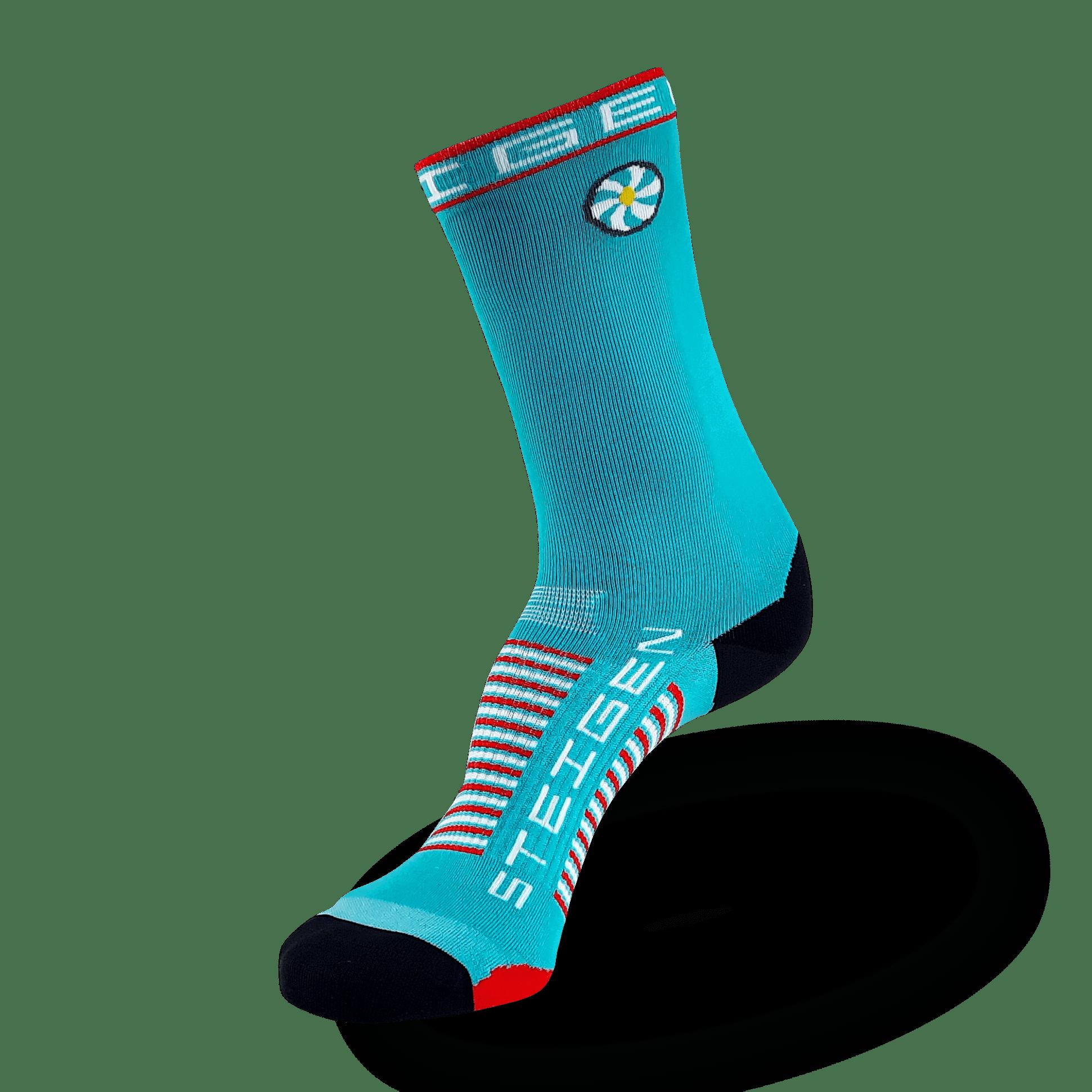 Aqua Blue Running Socks ¾ Length