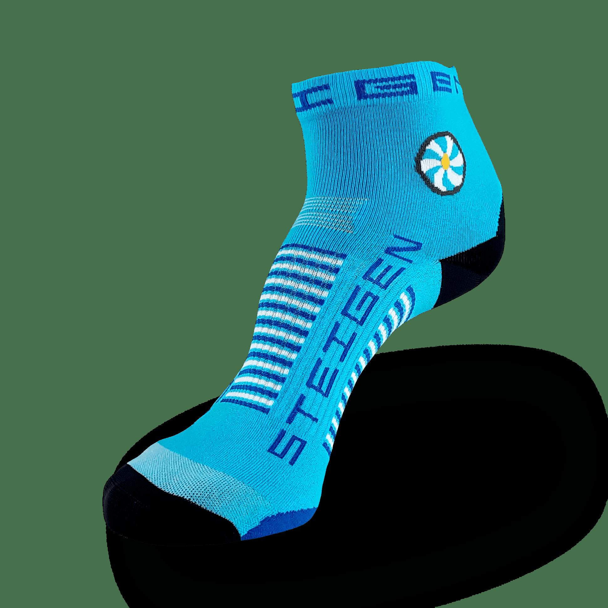 Breezy Blue Running Socks ¼ Length