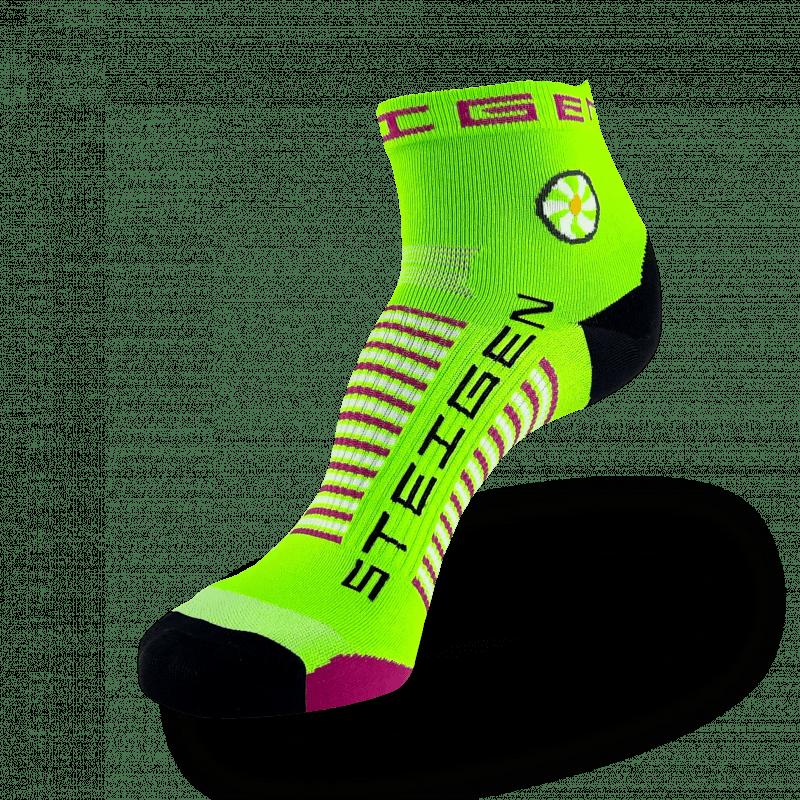 Fluro Green Running Socks ¼ Length