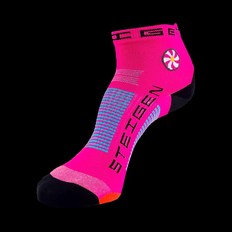 Fluro Pink Running Socks ¼ Length