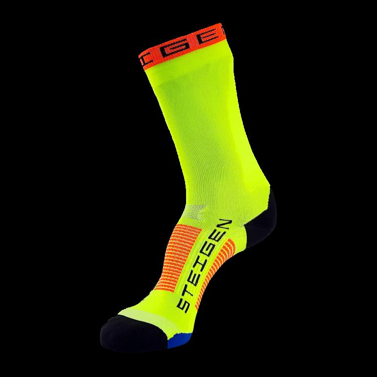 Fluro Yellow Running Socks ¾ Length