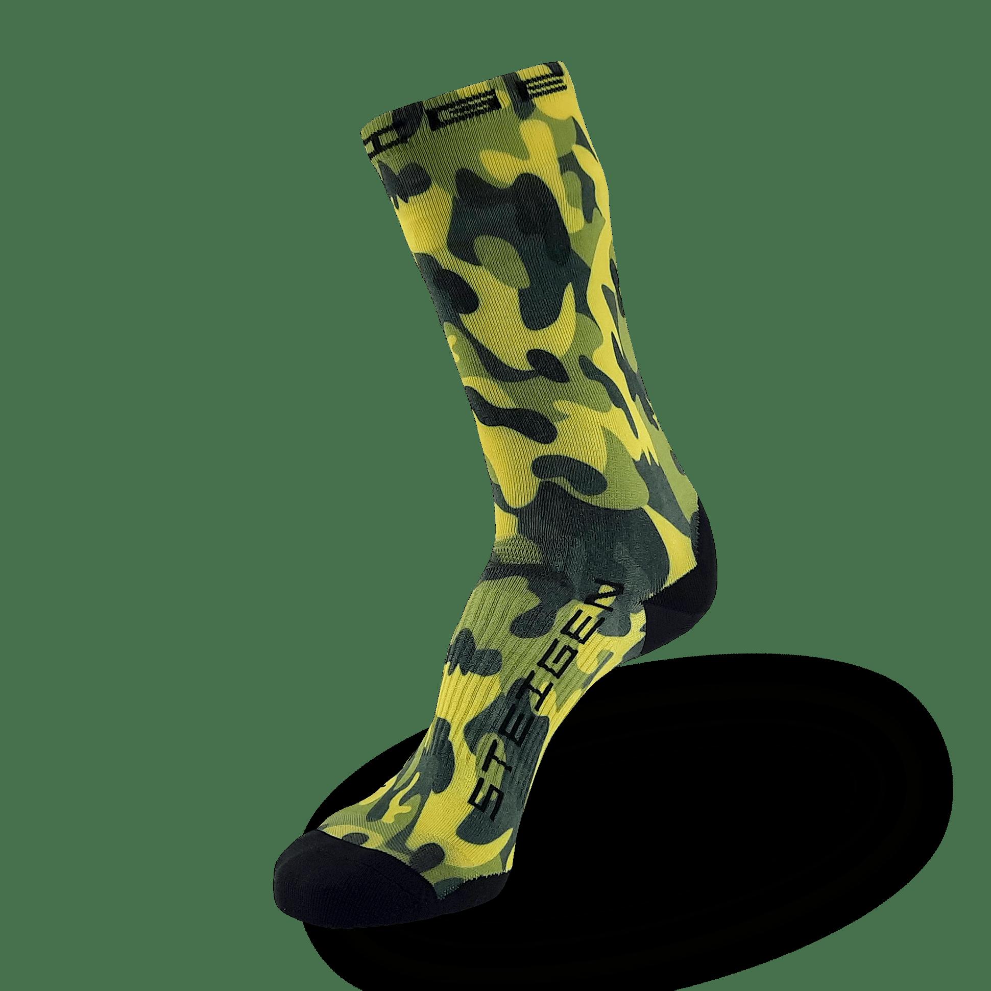 Green Camo Running Socks ¾ Length